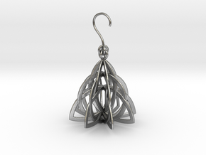 Celtic Knot Pyramid Earring in Natural Silver (Interlocking Parts)