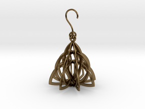 Celtic Knot Pyramid Earring in Polished Bronze (Interlocking Parts)