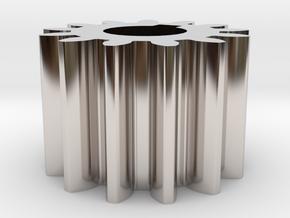 Cylindrical gear Mn=1 Z=13 AP20° Beta0° b=10 HoleØ in Rhodium Plated Brass