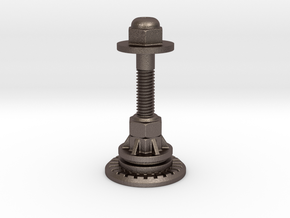 Steampunk Bishop Chess Piece in Polished Bronzed Silver Steel