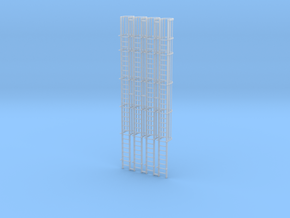 'N Scale' - (4)-30' Caged Ladder - Caged to Top in Smooth Fine Detail Plastic