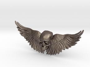 Metal Skull ring with wings in Stainless Steel