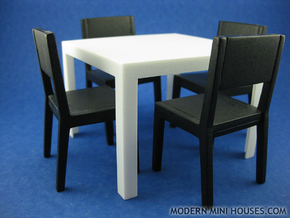 Quatro Modern Dining Table 1:12 scale in White Processed Versatile Plastic