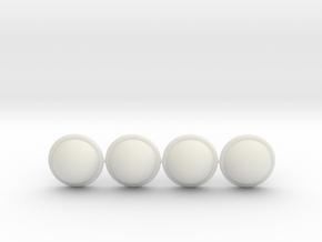 Knuckle Half Round Caps in White Natural Versatile Plastic