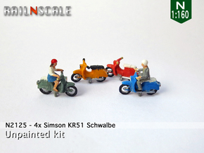 4x Simson KR51 Schwalbe (N 1:160) in Frosted Extreme Detail