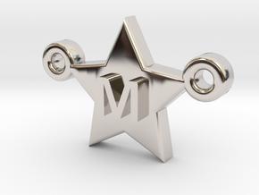 Customizable Star Letter Pendant -1,45cm in Rhodium Plated Brass