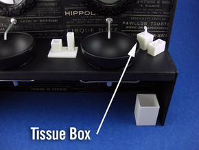 Bath Tissue Box 1:12 scale in White Strong & Flexible Polished