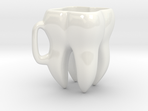 Tooth Cup in Gloss White Porcelain: Extra Small