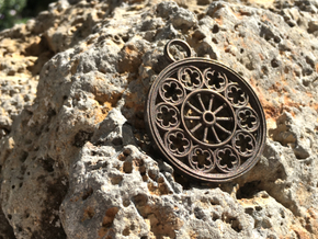 Rose Window Pendant in Polished Bronze Steel