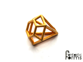 Pendant 'Diamond 3D' in Polished Gold Steel