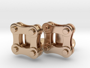Bike Chain Cufflinks in 14k Rose Gold Plated