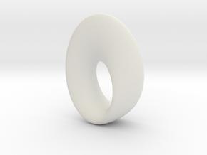 Mobius Torus Pendant - large in White Strong & Flexible