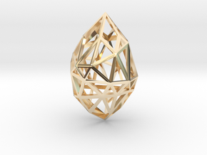 Geometric pendant 'Rough Diamond' (small) in 14k Gold Plated Brass