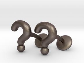 Question Mark Cufflinks in Polished Bronzed Silver Steel