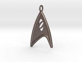 Starfleet Science Badge pendant in Polished Bronzed Silver Steel