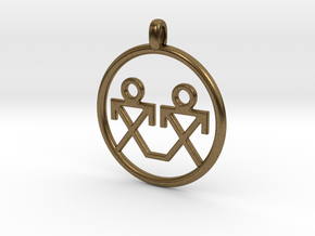Brothers Symbols Native American Jewelry Pendant in Natural Bronze