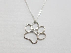 Paw Print Pendant - Large in Polished Silver