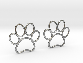 Paw Print Earrings - Large in Polished Silver