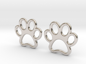 Paw Print Earrings - Small in Rhodium Plated Brass