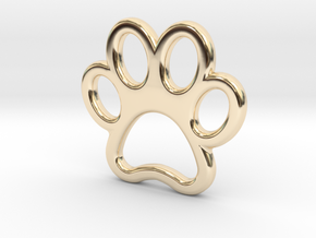 Paw Print Pendant - Small in 14K Yellow Gold