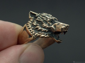 Wolf Head Ring in Polished Brass: 6.5 / 52.75