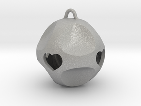 Ornament for Lovers with Hearts inside in Aluminum: Medium