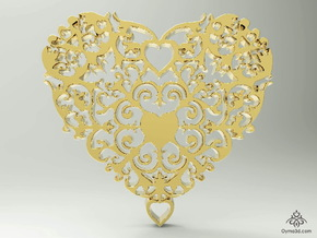 Floral Heart Pendant - Amour in Matte Gold Steel