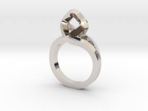 Sharp Rhythm Ring, us size 5 ,d=15,5 mm in Rhodium Plated Brass: 5 / 49