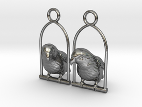 Lovebird Earrings in Polished Silver