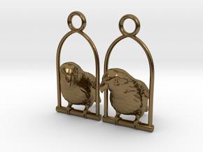 Lovebird Earrings in Polished Bronze