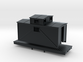 N Scale logging Caboose in Black Hi-Def Acrylate