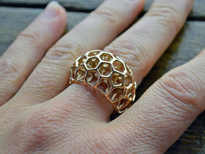 Cell Ring  (size 60, 19,1mm) in 14k Rose Gold Plated