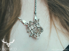 Untamed: The Wolf Pendant in Stainless Steel: Small