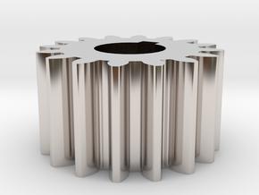 Cylindrical gear Mn=1 Z=16 AP20° Beta0° b=10 HoleØ in Rhodium Plated Brass