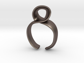 Noodle ring in Polished Bronzed Silver Steel