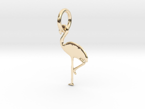 Flamingo Bird Pendant in 14k Gold Plated Brass
