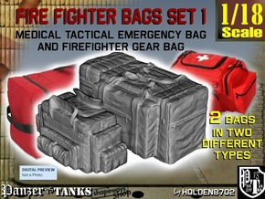 1-18 Med Tac Emerg And Firefight Gear Bag Set in White Natural Versatile Plastic