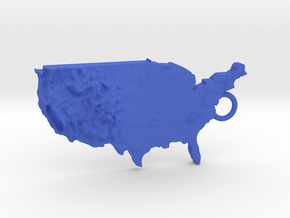 Usa Relief Map keychain in Blue Processed Versatile Plastic
