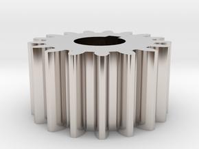 Cylindrical gear Mn=1 Z=17 AP20° Beta0° b=10 HoleØ in Rhodium Plated Brass