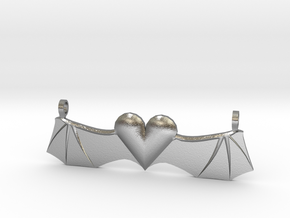 Devil-Winged Heart in Natural Silver