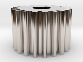 Cylindrical gear Mn=1 Z=20 AP20° Beta0° b=15 HoleØ in Rhodium Plated Brass