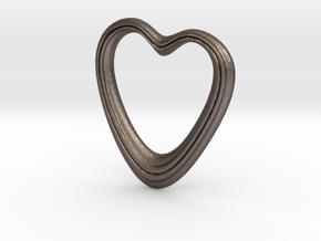 Oblong Heart Pendant in Polished Bronzed Silver Steel