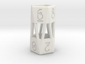 Barrel Dice RPG Set and Singles in White Natural Versatile Plastic: d10