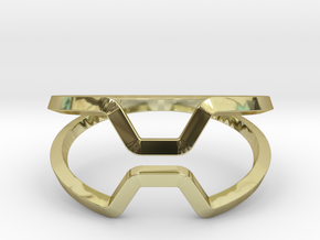 """Honey, Kiss me if you can"",ring US size 8, d=18,2 in 18k Gold Plated Brass: 8 / 56.75"