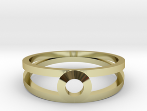 """K Line""  K3 Ring, US size 8, d=18,2mm(all sizes o in 18k Gold Plated Brass: 8 / 56.75"