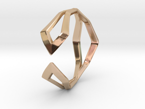 HIDDEN HEART Sharp, ring US size 10.5 , d=20,2mm in 14k Rose Gold Plated Brass: 10.5 / 62.75