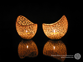 Filigree double wall tealight holder in White Strong & Flexible Polished
