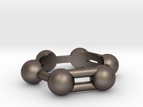 Benzene Ring Molecule in Polished Bronzed Silver Steel: 6.5 / 52.75