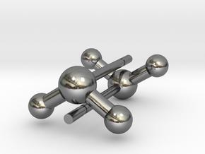 Water Molecule Stud Earrings in Polished Silver