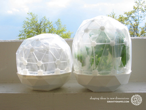 Flexible Mini Greenhouse-Dome Set with Pot (short) in White Natural Versatile Plastic